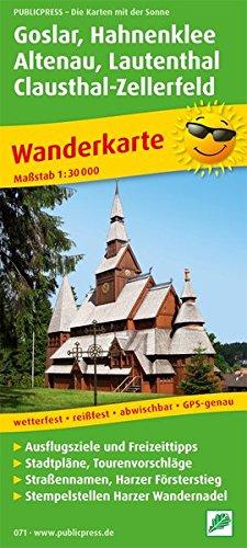 Wanderkarte Goslar, Hahnenklee, Altenau, Clausthal-Zellerfeld: 1:30000. Ausflugs-, Einkehr- und Freizeittipps, Stadtpläne